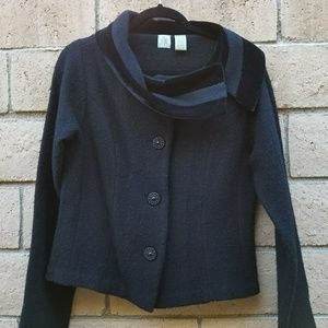 Vintage Black blazer with velvet cowl neck collar